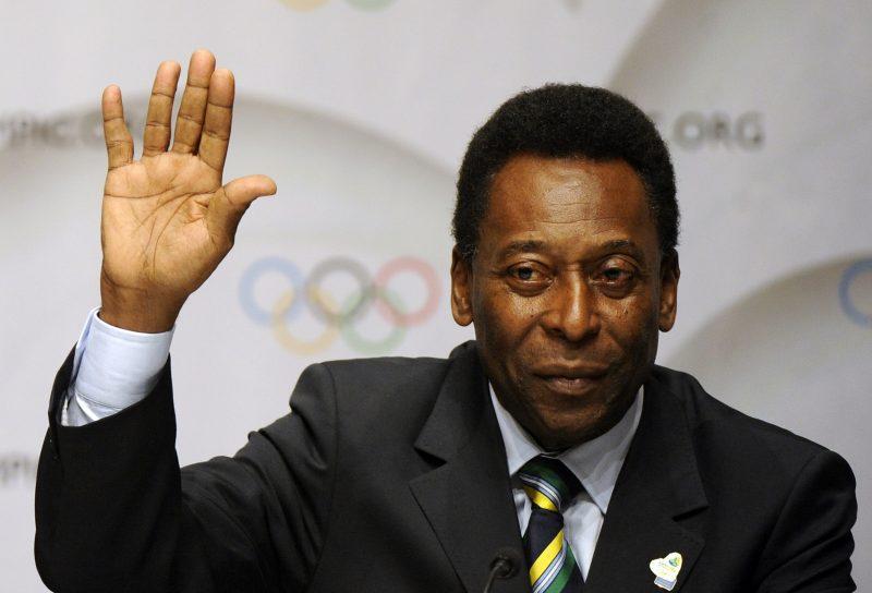 Brazilian former footballer  Pele waves