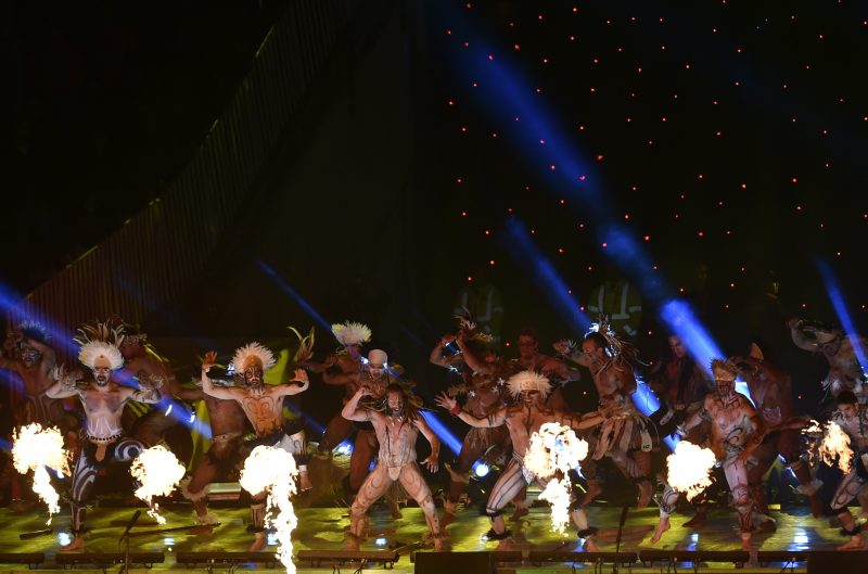Dancers perform during the Copa America inauguration ceremony at the