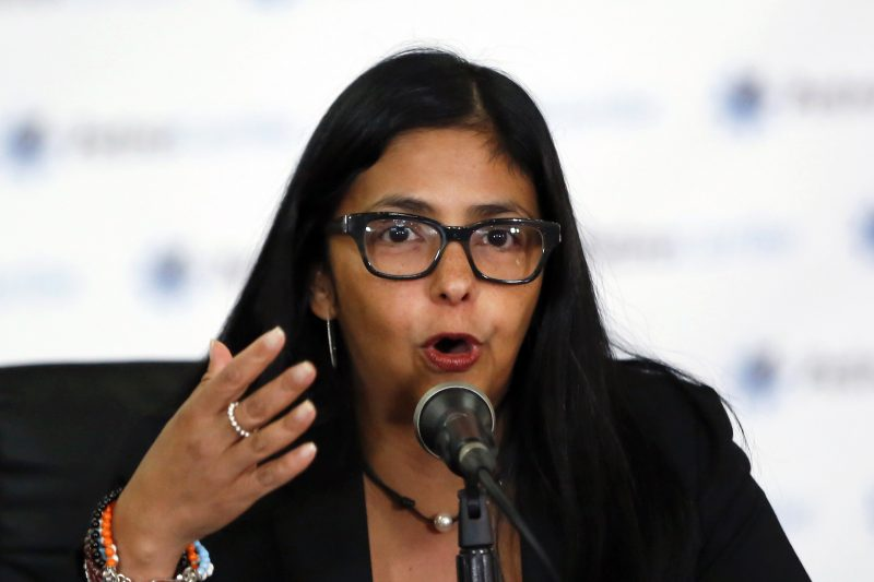 Venezuelan Foreign Minister Delcy Rodriguez speaks to the media during a news conference in Caracas