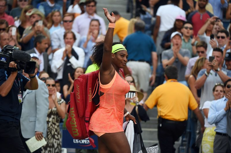 (FILES) -- A picture taken on September 11, 2015, at the USTA Billie Jean King National Tennis Center in New York, shows Serena Williams of the US leaving the court after being defeated by Roberta Vinci of Italy during their 2015 US Open Women's singles semifinals match. World number one Serena Williams announced on October 1, 2015 her withdrawal from next week's China Open in Beijing and the WTA Finals in Singapore, ending her season. AFP PHOTO / JEWEL SAMAD