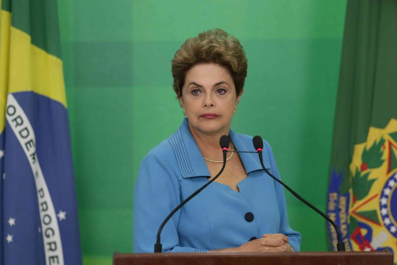 Brazil's President Dilma Rousseff listens to a question during a press conference where she spoke about her impeachment process, at Planalto Presidential Palace, in Brasilia, Monday, April 18, 2016. President Rousseff appeared on the verge of losing office after a congressional vote to impeach her and signs suggested only tenuous support for her in the Senate, which will decide whether to remove her amid a political and economic crisis. (AP Photo/Eraldo Peres)