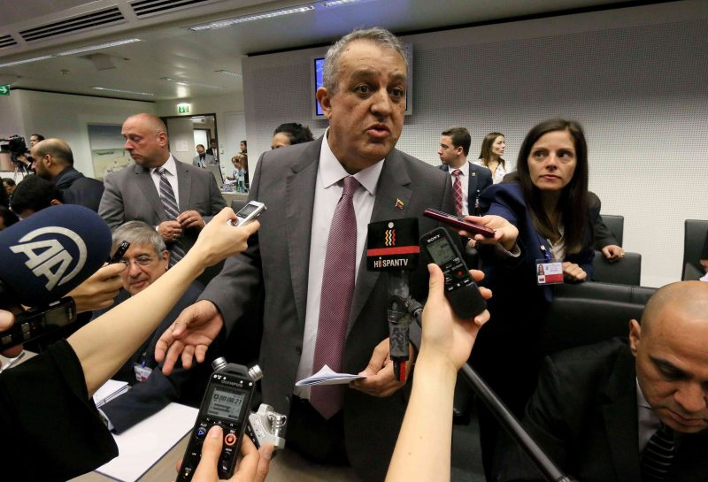Eulogio Del Pino People's Minister of Petroleum and Mining of Venezuela speaks to journalists prior to the start of a meeting of the Organization of the Petroleum Exporting Countries, OPEC, at their headquarters in Vienna, Austria, Thursday, June 2, 2016. (AP Photo/Ronald Zak)