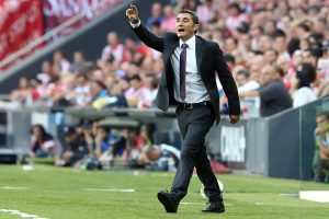 Athletic Bilbao's coach Ernesto Valverde reacts during the Spanish league football match Athletic Club Bilbao vs Granada FC at the San Mames stadium in Bilbao on September 20, 2014. Granada won 1-0.   AFP PHOTO/ CESAR MANSO        (Photo credit should read CESAR MANSO/AFP/Getty Images)