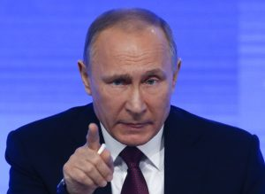 Russian President Vladimir Putin speaks during his annual end-of-year news conference in Moscow, Russia, December 23, 2016.  REUTERS/Sergei Karpukhin - RTX2W9QM